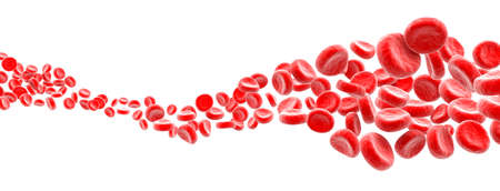 Blood cells wave on white background 스톡 콘텐츠