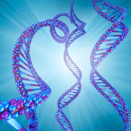 clone: Digital illustration - DNA structure Stock Photo