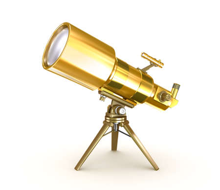 wite: Golden telescope on support over wite