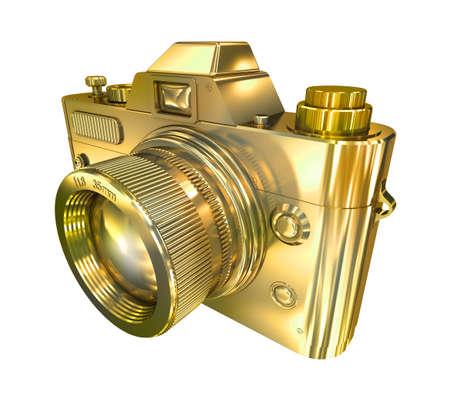 Golden retro photo camera on a white background