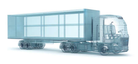 delineation: Truck with cargo container, wire model. My own design