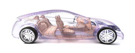 Auto-ontwerp, draad model. Mijn eigen ontwerp.