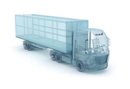 wire mesh: Truck with cargo container, wire model. My own design