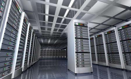 terminal: Modern interior of server room in datacenter 3D rendering