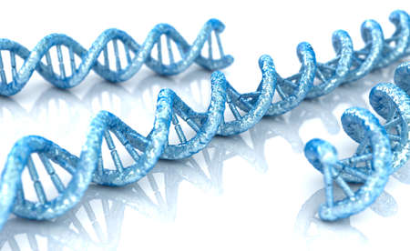 DNA molecule concept of biochemistry on white background, 3D illustration Stock Photo