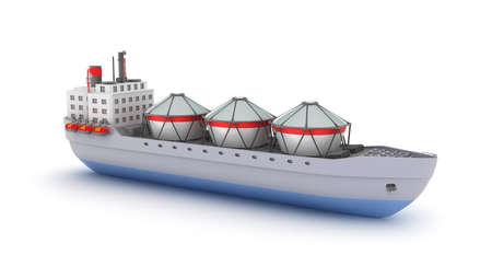 navy pier: Oil tanker ship on white background. My own design. Stock Photo