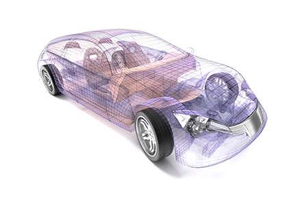 car design trasparente, filo model.3D illustrazione. Mio car design. Archivio Fotografico
