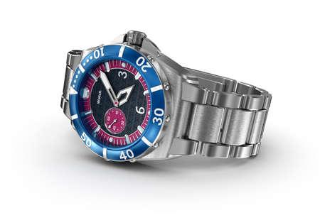 cronógrafo: reloj de pulsera mecánico. Ilustración 3D. Mi propio diseño