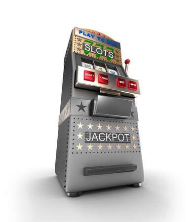 money button: A slot machine, gamble machine. 3D illustration Stock Photo