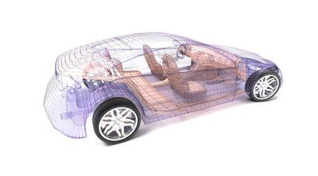 design automobile transparent, fil model.3D illustration. Ma propre conception de la voiture. Banque d'images