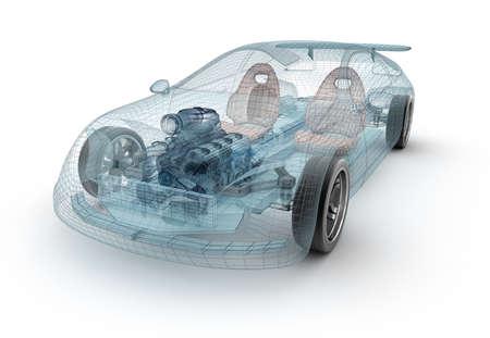 Transparant auto-ontwerp, draad model.3D illustratie. Mijn eigen auto-ontwerp.