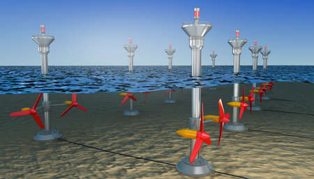 Tidal energy illustration, 3D illustration
