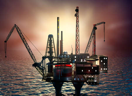 conventional: Drilling offshore Platform in night sea. 3D illustration