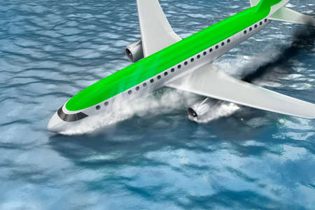 Catastrophe - Crash of Passenger plane. 3D illustration. My own plane design.