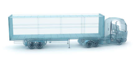 semi: Truck with cargo container, wire model. My own design, 3D illustration