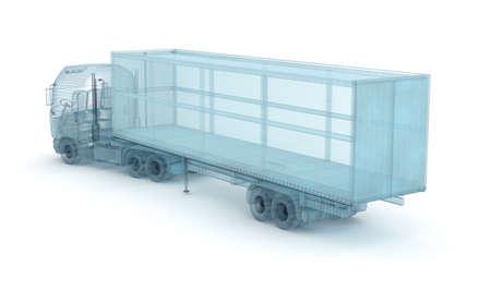 ciężarówka: Ciężarówka z ładunku kontenera, drut modelu. Mój własny projekt, ilustracja 3D Zdjęcie Seryjne