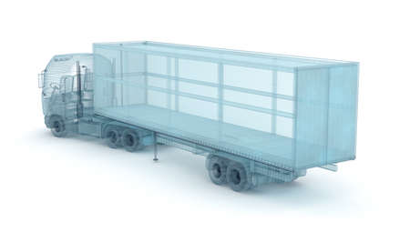 ciężarówka: Truck with cargo container, wire model. My own design, 3D illustration