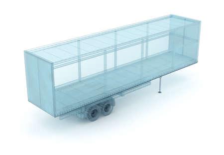 貨物コンテナー、ワイヤー モデル。私自身のデザイン、3 D イラスト