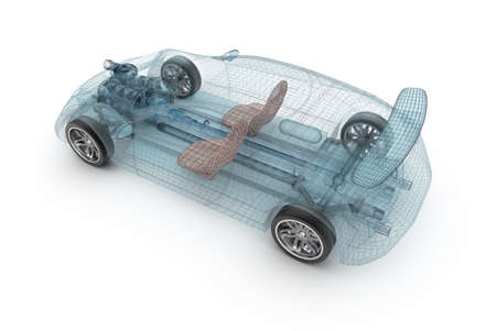 Transparent car design, wire model. 3D illustration. My own car design.
