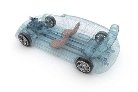 Transparant auto-ontwerp, draad model. 3D-afbeelding. Mijn eigen auto-ontwerp.