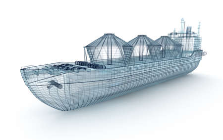 navy pier: Oil tanker ship wire model isolated on white. My own design. 3D illustration. Stock Photo