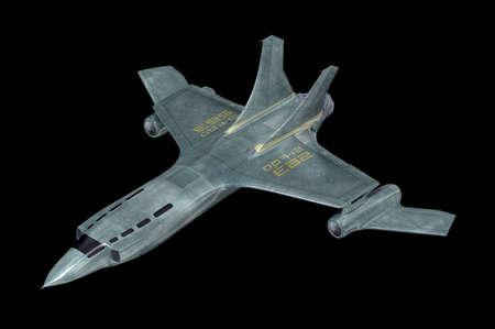 combat: Combat spaceship. My own design. 3D illustration. Stock Photo