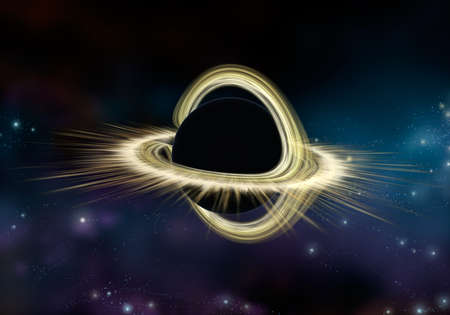 Black hole star in deep space, Physically accurate 3D illustration