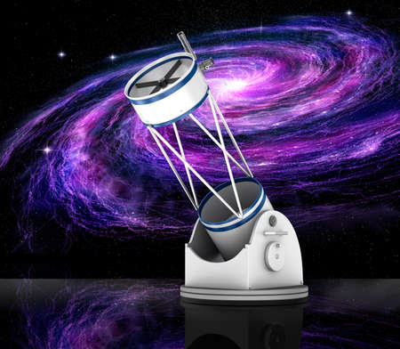 look in mirror: Dobson reflector telescope and galaxy, 3D illustration Stock Photo