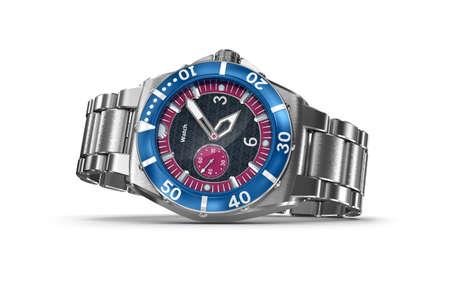 chronograph: Mechanical wrist watch. 3D illustration. My own design Stock Photo