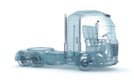 trailer: Mesh truck isolated on white. My own design. 3D illustration