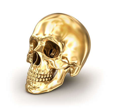 Golden human skull over white, 3D illustration Stock Photo