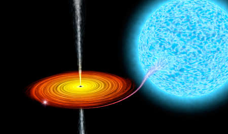 Black hole absorbs star, Astronomically accurate 3D illustration