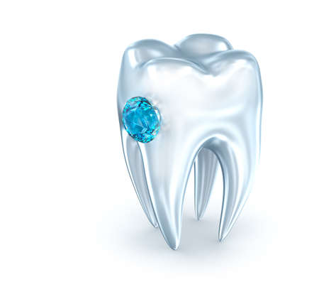 Tooth with blue diamond, over white. 3D illustration