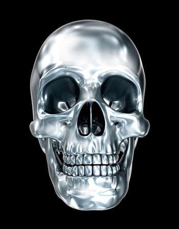 cromo: cráneo humano metálico sobre negro ilustración, 3D
