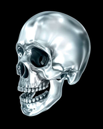 Metallic human skull over black, 3D illustration