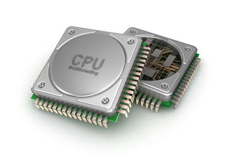 processors: Central computer processors CPU isolated on white background. 3D illustration Stock Photo