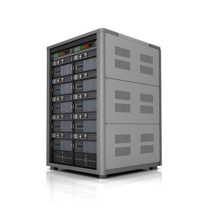 fileserver: Server storage database icon over white. 3D illustration