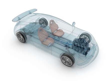 透明な車のデザイン、ワイヤー model.3D イラスト。自分の車のデザイン。