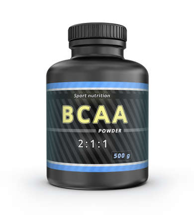acids: BCAA Container. Branched-Chain Amino Acids set. Sport Nutrition with BCAA. 3D illustration