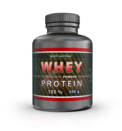 muscle training: Molkenprotein-Container. Sporternährung. 3D-Darstellung