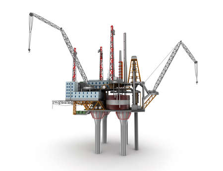 conventional: Drilling offshore Platform isolated on white. 3D illustration