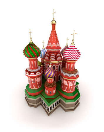 Cathedral on the Red Square in Moscow, Russia, isolated 3D illustration