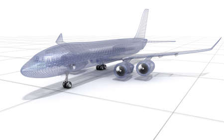 construction mesh: Airplane wire model, isolated on white. 3D illustration