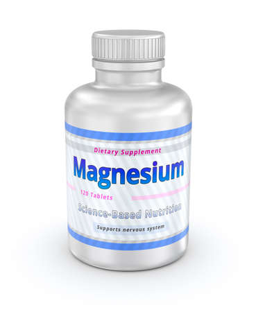 laxatives: Magnesium vitamins Container. Dietary Supplement. 3D illustration Stock Photo