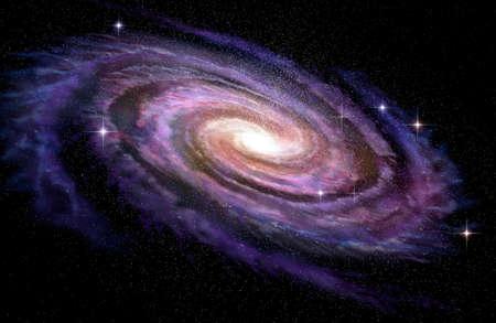 ディープ スペース、3 D イラストレーションにある渦巻銀河