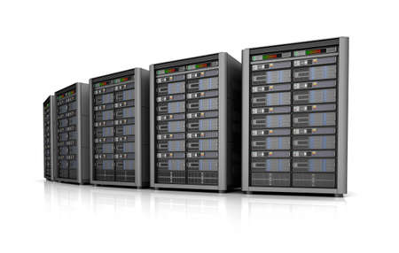 Row of network servers in data center isolated on white background. 3D illustration