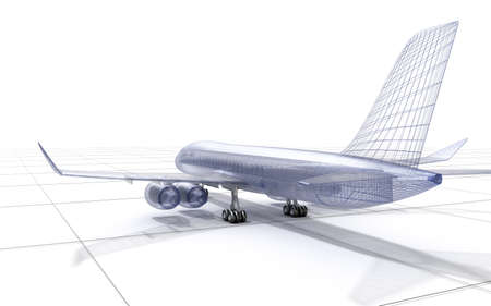mesh: Airplane wire model, isolated on white. 3D illustration