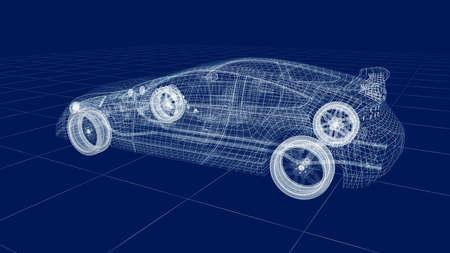 technology: Transparent car design, wire model.3D illustration. My own car design.
