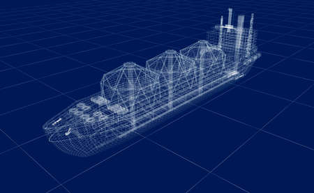 pier: Oil tanker ship wire model isolated on white. My own design. 3D illustration. Stock Photo