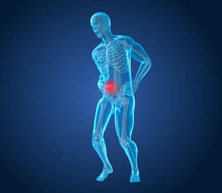 Man voelen pijn in de maag, 3D-afbeelding Stockfoto
